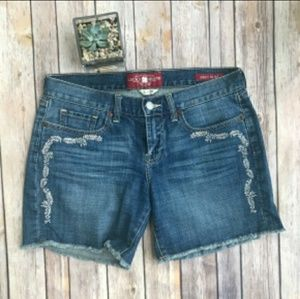 Lucky Brand Abbey Jean Embroidered Shorts